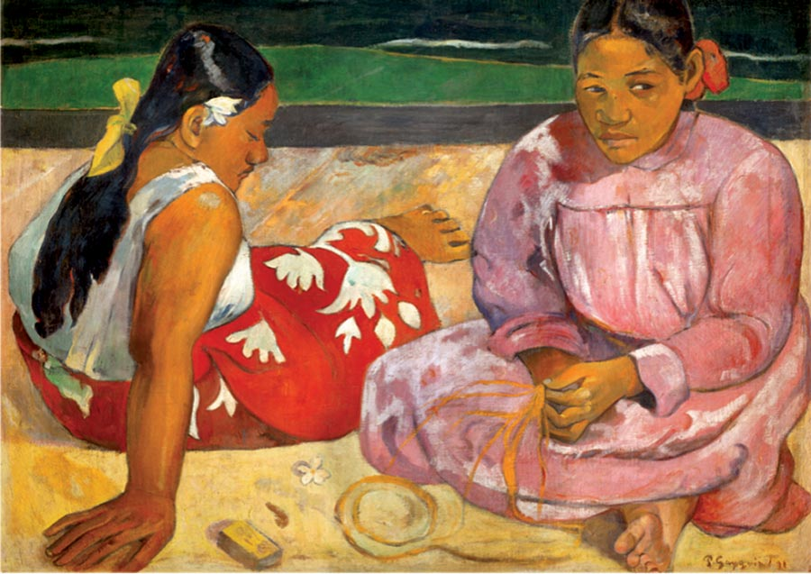 Tahitian women on beach